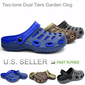 Men's Garden Clogs Boat Shoes Mules Slip-On Casual Two-tone Slippers Sandals
