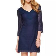 Lilly Pulitzer Size XS True Navy Geo Circle Knit Lace Alden Tunic Dress