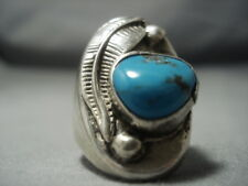 HUGE VINTAGE NAVAJO TURQUOISE STERLING SILVER FEATHER RING OLD