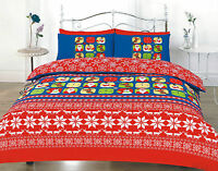 Single Bed Christmas Duvet Cover Set Bedding Reindeer Snowman Red Xmas & Santa
