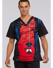 Marvel Spiderman Scrub Top Medical Nurse Mens Small V-Neck Cherokee Tooniforms