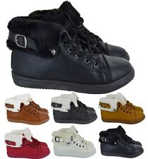 WOMENS ANKLE FAUX FUR LINED BOOTS SHOES LADIES COMBAT SPORT BUCKLE TRAINERS SIZE