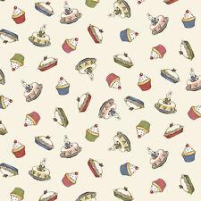 Bakery Paper Doll fabric CREAM cupcakes c4354 + cake 100% cotton Penny Rose RARE