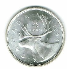 1964 Canadian Brilliant Uncirculated Business Strike Silver Caribou 25 Cent Coin