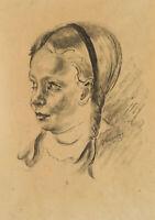 Rudolf SCHMID (1896-1971), Junges Mädchen mit Zöpfen, Original Porträt, 1953
