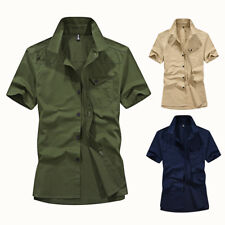 New Mens Short Sleeves Camisas Social Army Military Epaulet Cotton Shirts