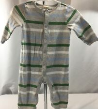 Baby Boy 3-6 M One Piece Striped 100% Cotton Outfit PJ's Gray Blue Grn Old Navy