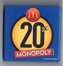 Monopoly 20 McDonalds Pinback Button Fast Food Restaurant Board Game Advertising