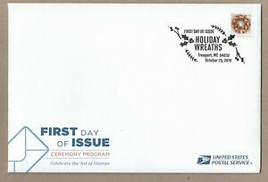US 5426 Holiday Wreaths Gold & Red Ribbon Ceremony Program FDC 2019