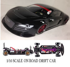 1/10 Scale AUDI R8  RTR Custom RC Drift -Cars  2.4Ghz & Charger GLOSS BLK