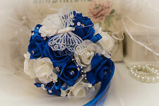 Wedding Flowers Bridesmaid Bouquet in Royal Blue and Ivory