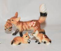 Bone China Japan Fox Figurine Family #3