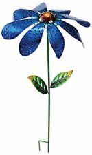 Large Daisy Spinner Stake Textured Metal Flower Garden Patio Walkway Decor Blue