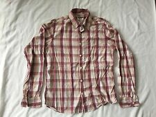 Hollister Men Pink White Yellow Plaid Button Up Cotton Shirt Size Large SS6