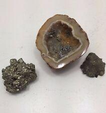 Rare Vintage Geode Pewter Miner Panner Prospector Donkey Fools Gold Rush Rocks