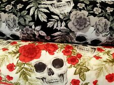 SKULLS & ROSES by Rose & Hubble - 100% COTTON POPLIN FABRIC
