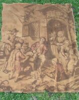 "Gorgeous Large Antique French Tavern Scene Tapestry 4ft 3"" x 4ft 11"" c1920s"