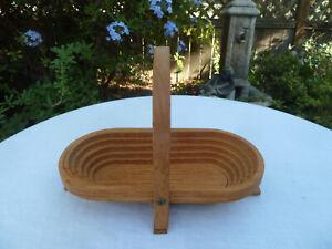 """Vintage 14""""x7"""" Folding Spiral Collapsible Oval Wooden Basket Fruit Nut Misc Bowl"""