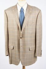 CORNELIANI Sport Coat 46 R in Navy Golden Brown Silk-Bamboo Houndstooth Plaid
