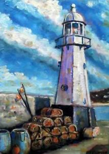 "Lobster Pot Lighthouse : Original Marine Oil Painting by Kevin Corroue 8"" X 12"""