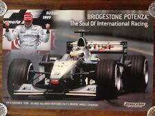 RARE 1999 Bridgestone Mika Hakkinen McLaren Promotional Poster F1 Formula One