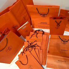 25 Authentic HERMES PARIS Vintage SHOPPING BAGS Paper Cord House Logo Orange Bag