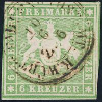 WÜRTTEMBERG, MiNr. 8 a, gestempelt, gepr. Heinrich, Mi. 75,- (2