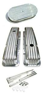 """SBC Chevy Polished Aluminum Finned Valve Covers + 15"""" Air Cleaner & Wire Loom"""