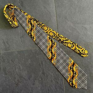 GIANNI VERSACE silk tie Plaid & Baroque print in black & gold from ss 1997