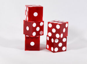 Red Casino Dice d6 19mm Razor Edge No Serial Numbers or Names Clean