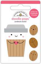 Scrapbooking Crafts Doodlebug CS Stickers Doodle-Pop Coffee Mates Cup Face Beans
