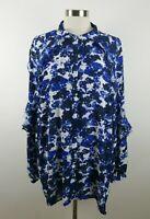 Lauren Ralph Lauren Womens Sheer Polyester 3/4 Sleeve Button Down Blue Blouse 3X