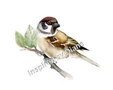 Handmade Transparent sticker from painted wall art, decal, bird on a branch, 015