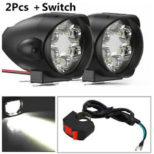 Pair 30W 3000LM 6000K 12 LEDs White Motorcycle Headlight Fog Lights With Switch