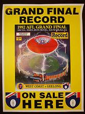 1992 Grand Final Football Record Poster West Coast Eagles Premiership