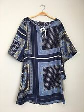 HALE BOB 3/4 Sleeve Tie Front Printed Silk Shift Tunic Dress Blue Multi XS $218