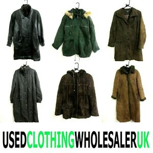 10 GRADE B VINTAGE REAL LEATHER SUEDE COATS WHOLESALE WOMEN'S CLOTHING JOB LOT