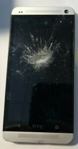 [BROKEN] HTC One M7 32GB Silver (Sprint) Good Used Parts Repair Cracked Glass