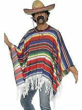 Adult Mexican Poncho Fancy Dress Costume Spanish Party Bandit Western Outfit