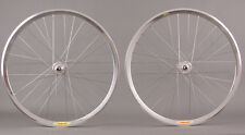 Velocity Deep V Polished Silver Rims Track Bike Fixed Gear Single Speed Wheelset
