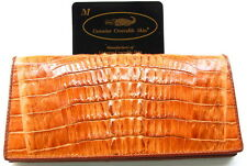 100% GENUINE CROCODILE TAIL LEATHER LONG CHECKBOOK WALLET SHINY GOLDEN TAN NEW