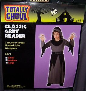 TOTALLY GHOUL BOY'S CLASSIC GREY REAPER HALLOWEEN COSTUME NWT!  SIZE LARGE