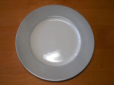 Royal Stafford England Earthenware Dinner Plate Off White w Light Grey Wide Rim