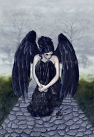 Gothic Angel Fantasy Art PRINT Sorrow Cemetery Rose Fog Black Gray Sad Mourning
