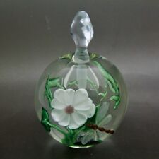 "PEET ROBISON 3D dragonfly & Flowers Art Glass Elegant Perfume Bottle,Apr 5""Hx3""W"