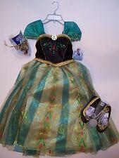 NWT Disney Store Frozen Anna Deluxe Coronation Costume 5/6 Tiara & Shoes 11/12