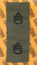 US ARMY Enlisted STAFF SERGEANT SSG E-6 OD Green & Black rank patch set