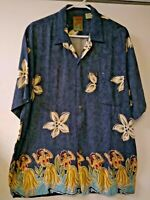 Pineapple Connection Hawaiian Shirt Hula Girls Flowers Men's Size Large
