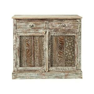 Made to Order Floral Hand Carved Solid wood Sideboard Natural M