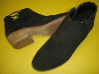 Vince Camuto Pandormia Suede Leather Exposed Ankle Booties Women's 9.5 W Black